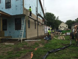 exterior siding going up